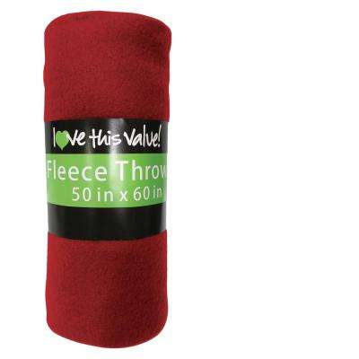 50 in. x 60 in. Red Super Soft Fleece Throw Blanket