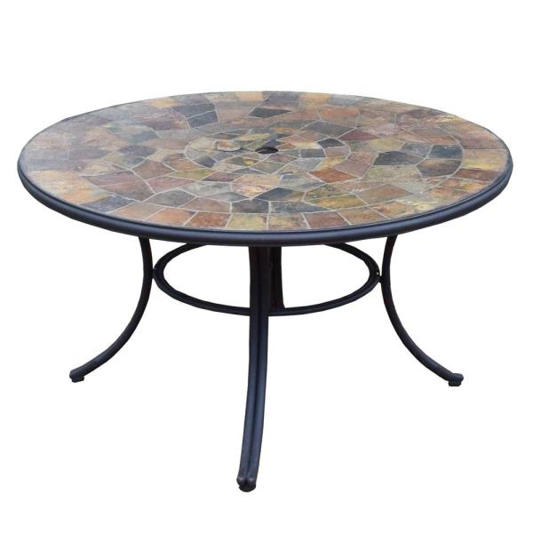 42 in. Black Round Patio Outdoor Stone Slate Low Seating Dining Table with Steel Frame