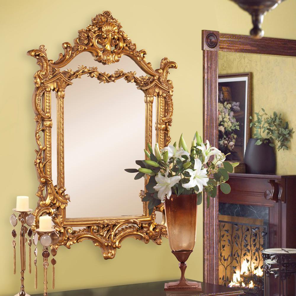 Arlington gold baroque mirror 84001 the home depot for Baroque bathroom mirror
