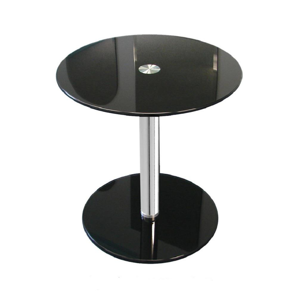 Fab Glass And Mirror 16 In Black Round Modern Glass Side Table With