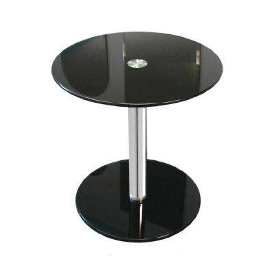 16 in. Black Round Modern Glass Side Table with 19-1/4 in. H