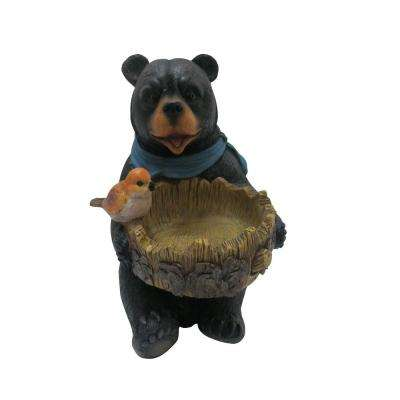 9 in. Bear Statue with Decorative Birdfeeder