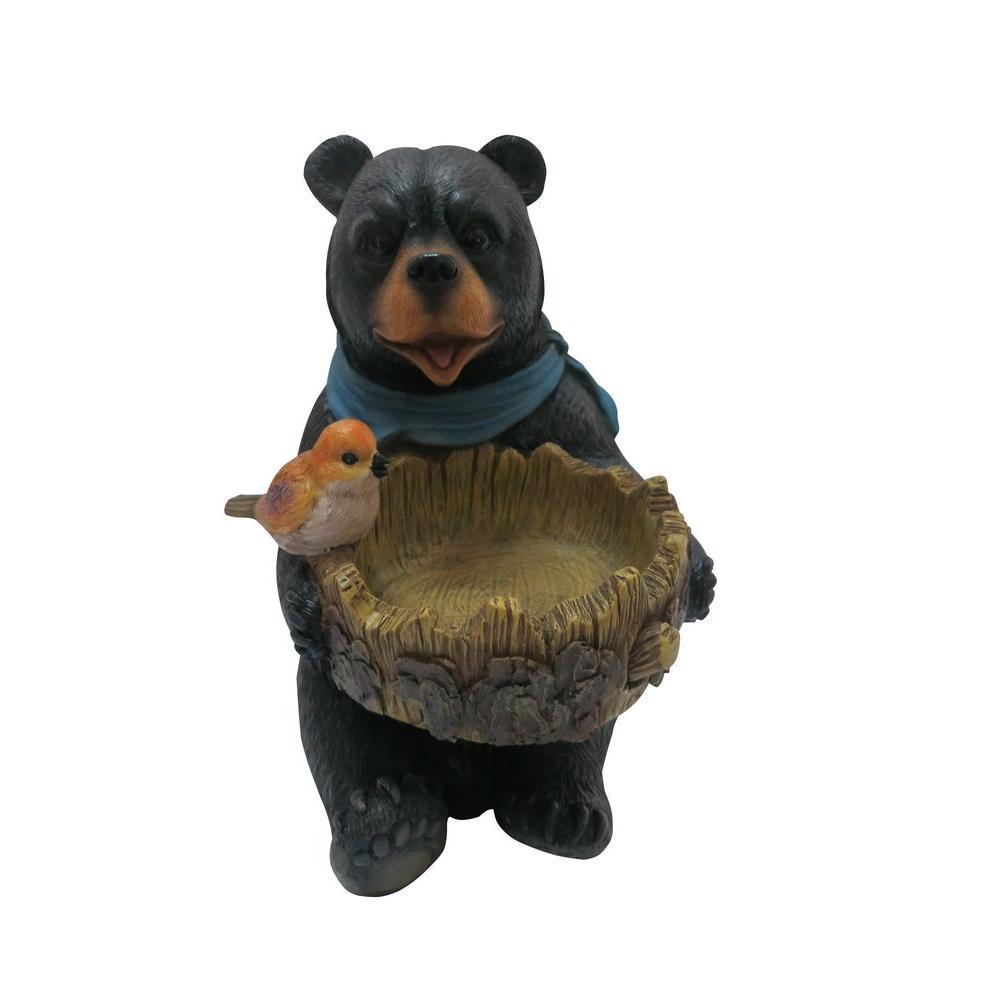 9 in. Bear Statue with Decorative Birdfeeder