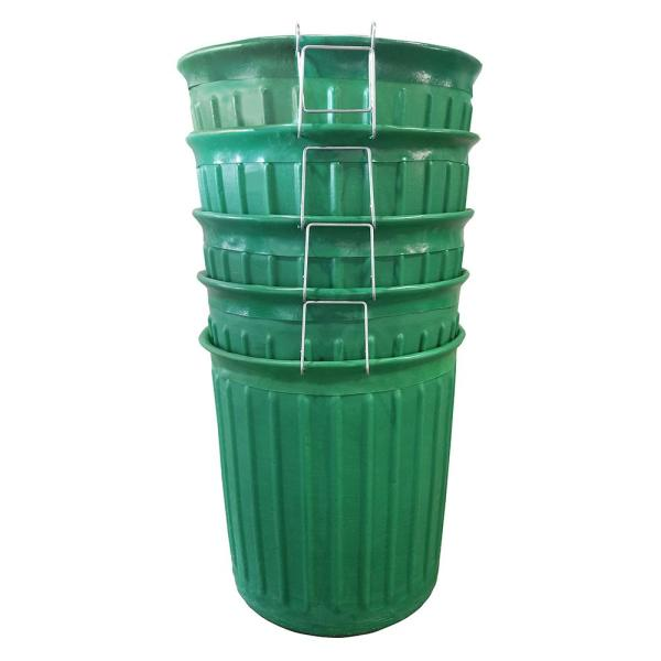 60 Gal. Green Round Carry Barrel Trash Can (5-Pack)