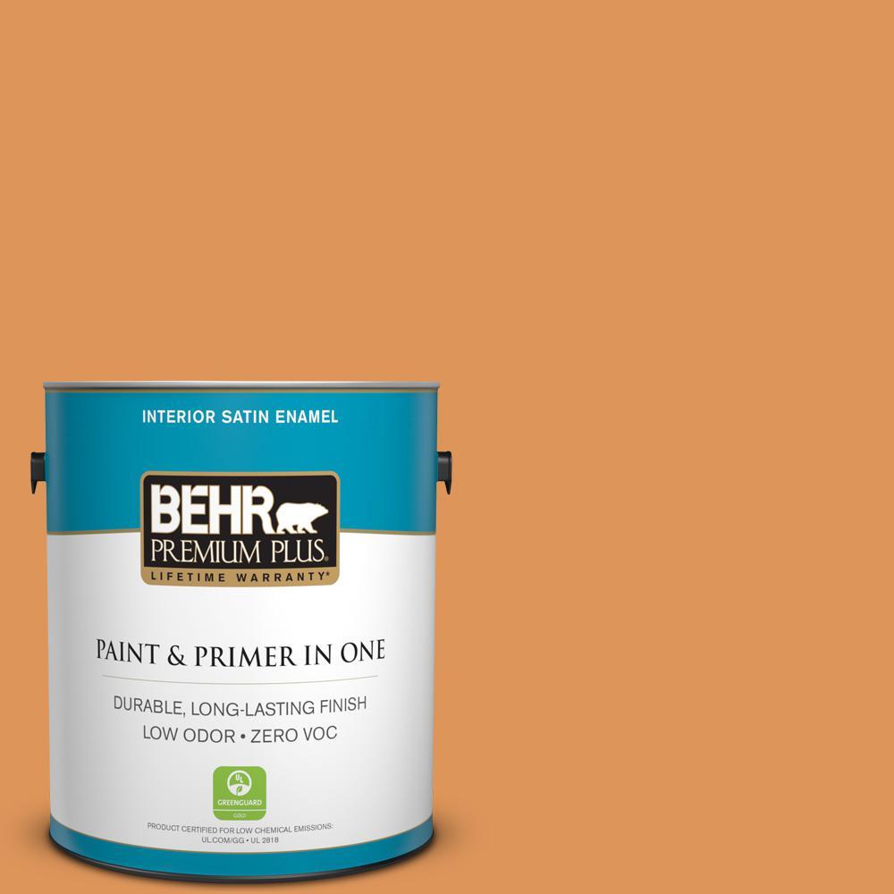 1 gal. #M230-6 Amiable Orange Satin Enamel Zero VOC Interior Paint