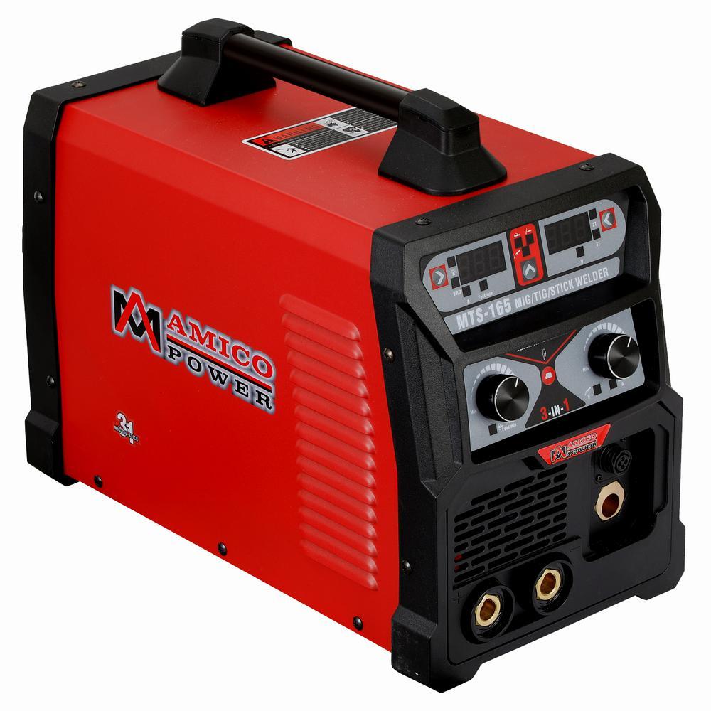 AMICO POWER 165 Amp MIG Wire Feed/Flux Core/TIG Torch/Sti...