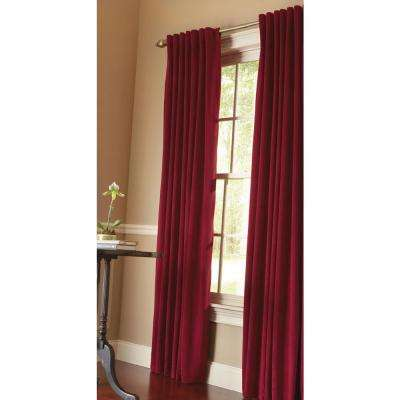Semi-Opaque HDC Velvet Lined Back Tab Curtain Cranberry - 50 in. W x 108 in. L (1-Panel)