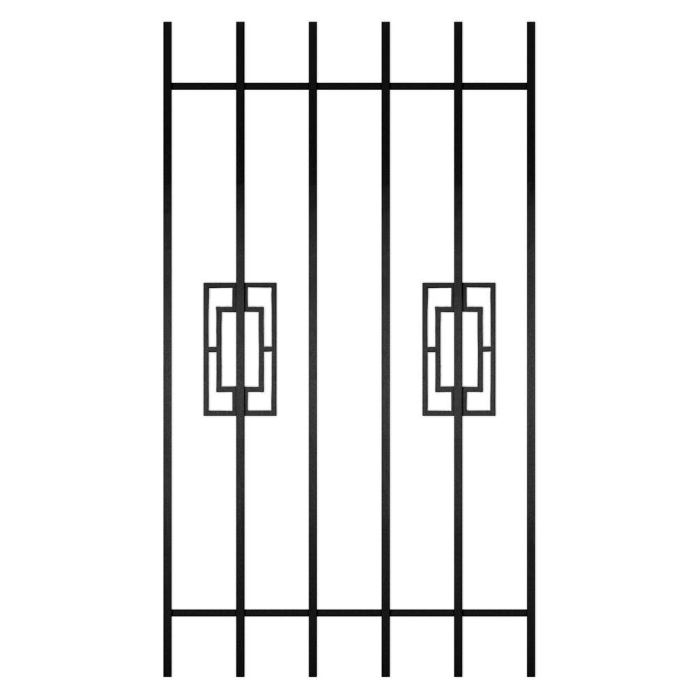 Unique Home Designs Modern Trifecta 30 in. x 54 in. Black 6-Bar Window Guard-DISCONTINUED