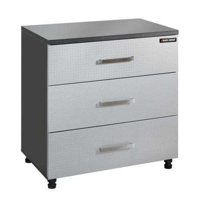 3-Drawer Laminate Base Cabinet with Thick Work Surface in Charcoal Stipple