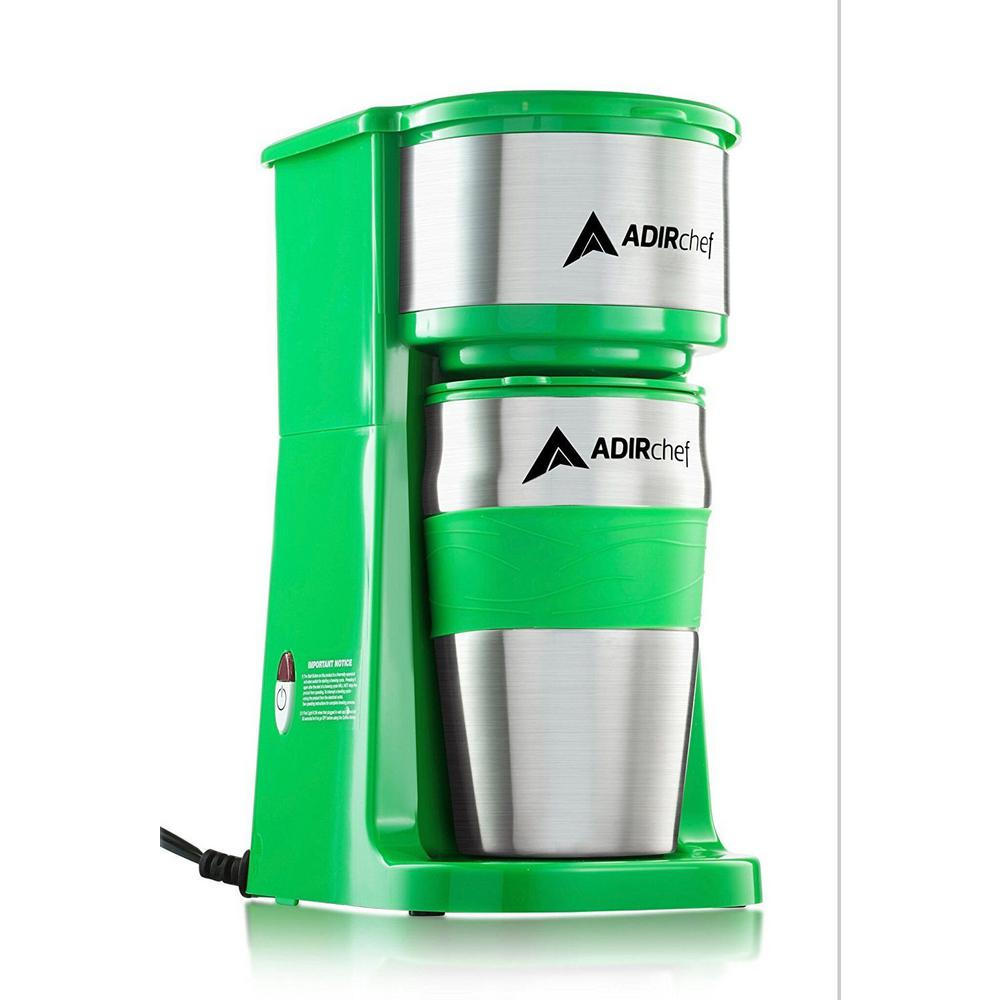 AdirChef Grab'n Go Green Single Serve Coffee Maker with Stainless Steel Travel Mug
