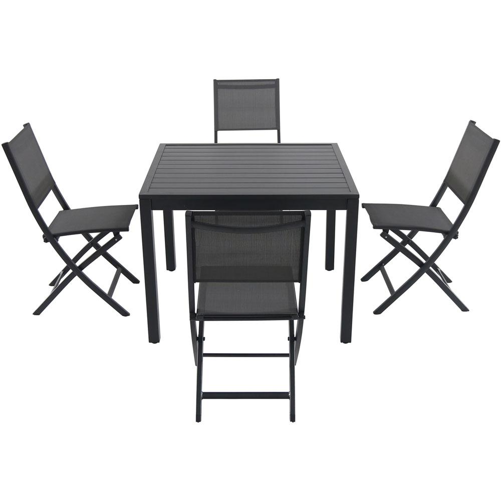 Prime Cambridge Nova 5 Piece Aluminum Outdoor Dining Set With 4 Sling Folding Chairs And 38 In Square Dining Table Machost Co Dining Chair Design Ideas Machostcouk
