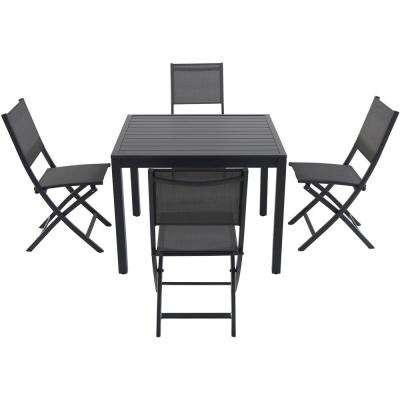 Nova 5-Piece Aluminum Outdoor Dining Set with 4-Sling Folding Chairs and 38 in. Square Dining Table
