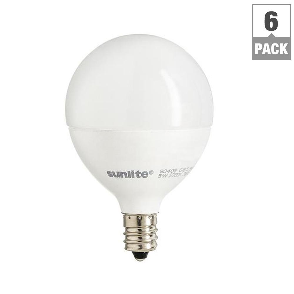 60-Watt Equivalent Frost Warm White G16.5 Dimmable LED Light Bulb (6-Pack)