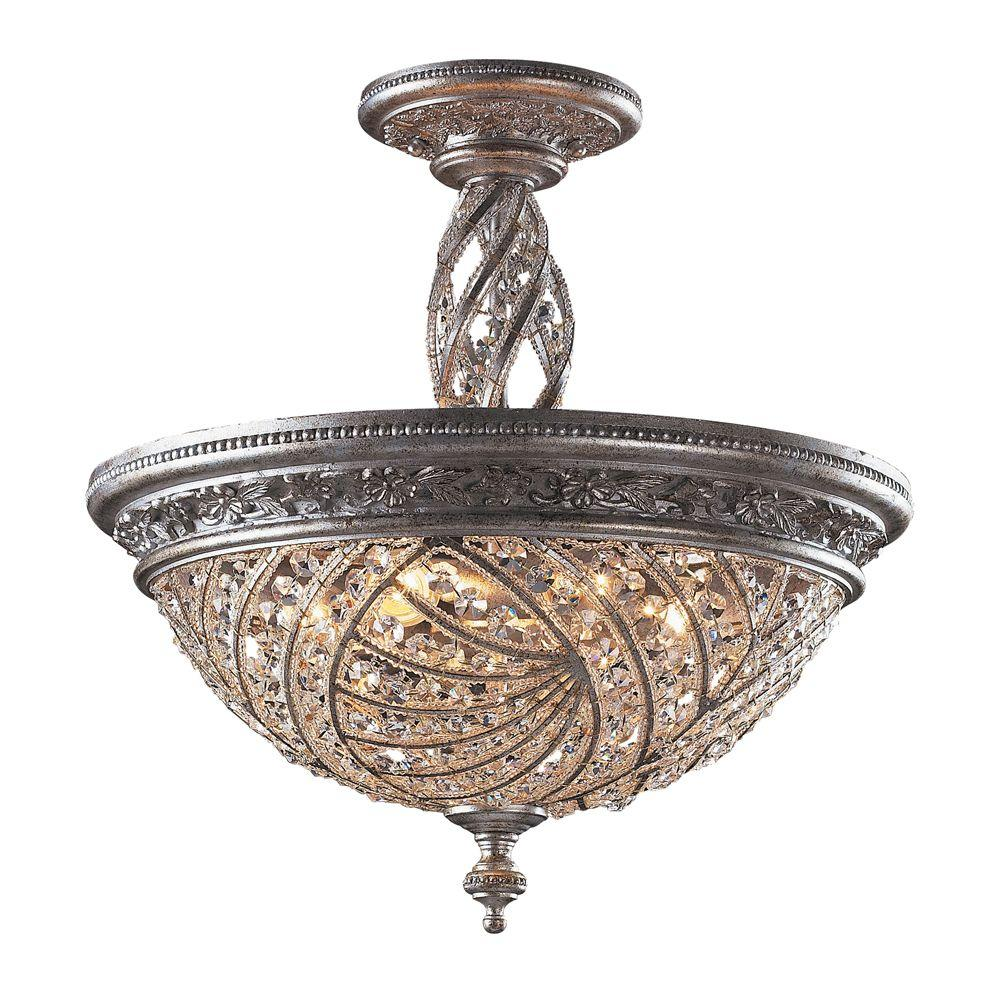 crystal flush mount chandelier. Titan Lighting Renaissance 6-Light Sunset Silver Ceiling Semi-Flush Mount Light Crystal Flush Chandelier