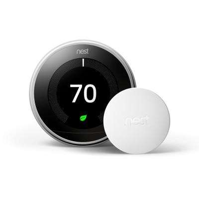 Nest Learning Thermostat 3rd Gen in Polished Steel and Google Nest Temperature Sensor