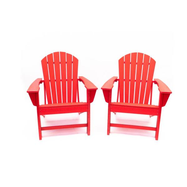 Hampton Red Poly Plastic Outdoor Patio Adirondack Chair (2-Pack)