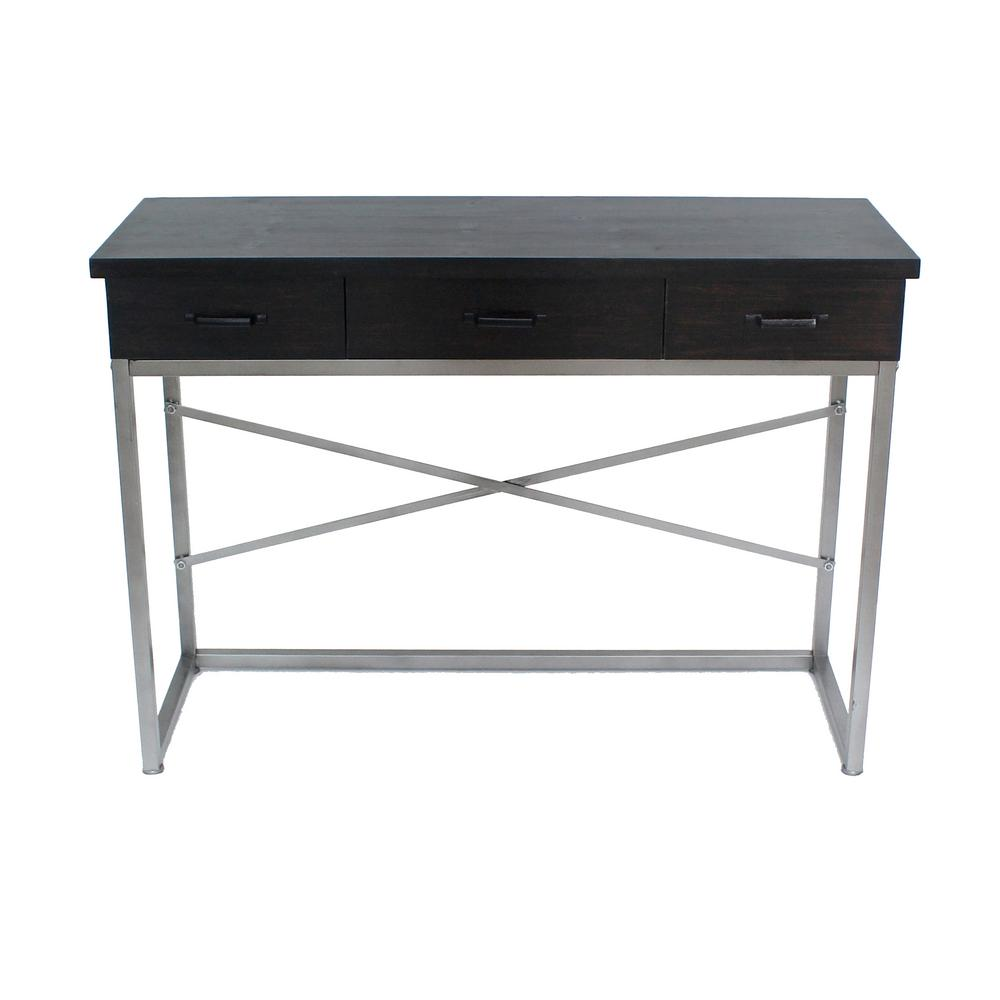 Captivating Black Wood Console Table With 3 Drawers