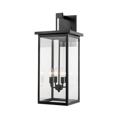 27 in. 4-Light Powder Coat Black Outdoor Wall-Light Sconce with Clear Glass