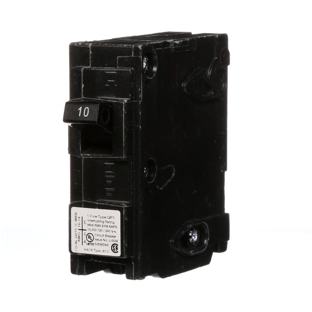 Siemens 10 Amp Single-Pole Type QP Circuit Breaker