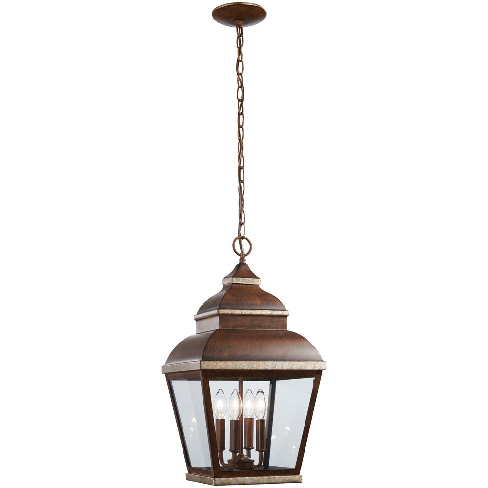 Mossoro Walnut with Silver Highlights 4-Light Outdoor Hanging Lantern