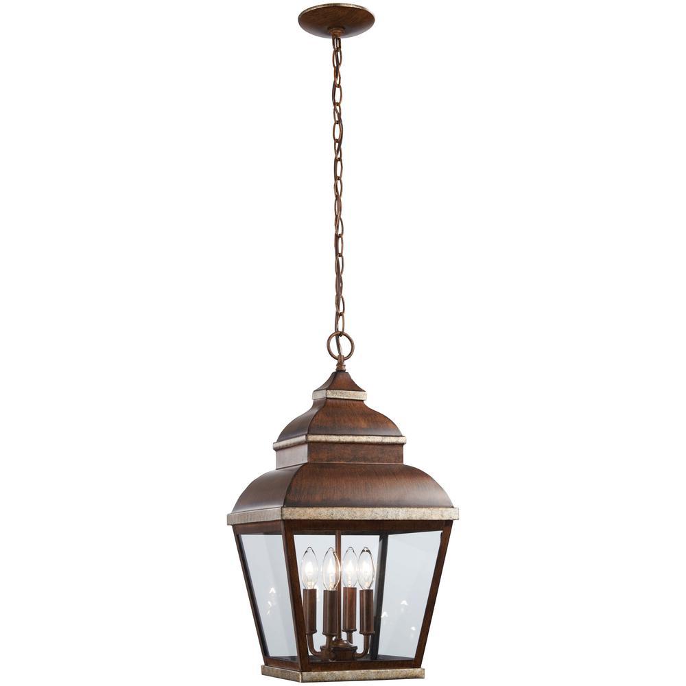 Mossoro Walnut with Silver Highlights 4-Light Outdoor Hanging Lantern