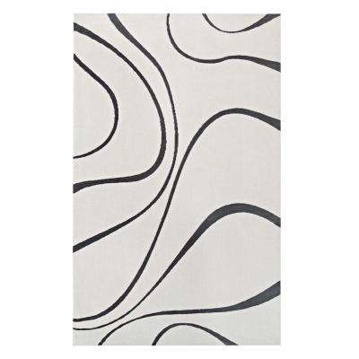 Therese Abstract Swirl 8 ft. x 10 ft. Area Rug in Ivory and Charcoal