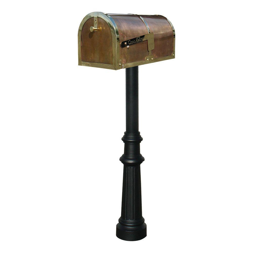 MB-3000 Polished Brass Non-Locking Mailbox with Black Hanford Post System