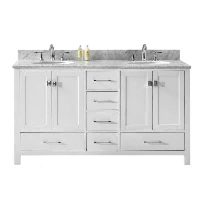 Caroline Avenue 60 in. W Bath Vanity in White with Marble Vanity Top in White with Round Basin