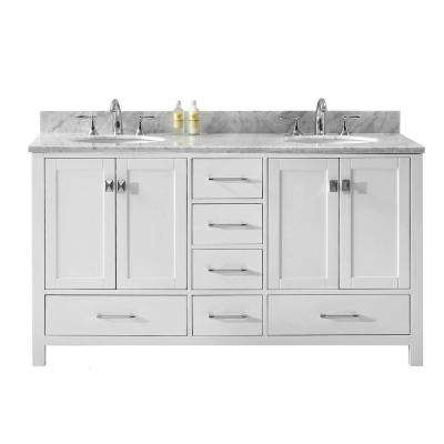 Caroline Avenue 60 in. W x 22 in. D Double Vanity in White with Marble Vanity Top in White with White Basin