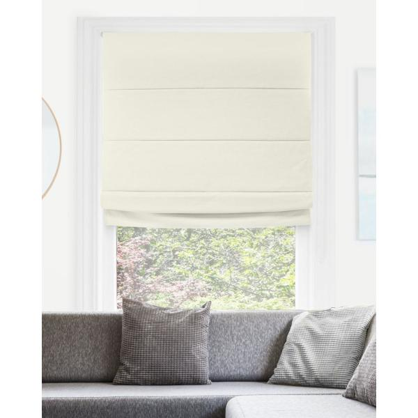 Chicology Del Mar Ready Made Moon Shell Cordless Blackout Privacy Fabric Roman Shade 29 In W X 64 In L Rmdm2964 The Home Depot