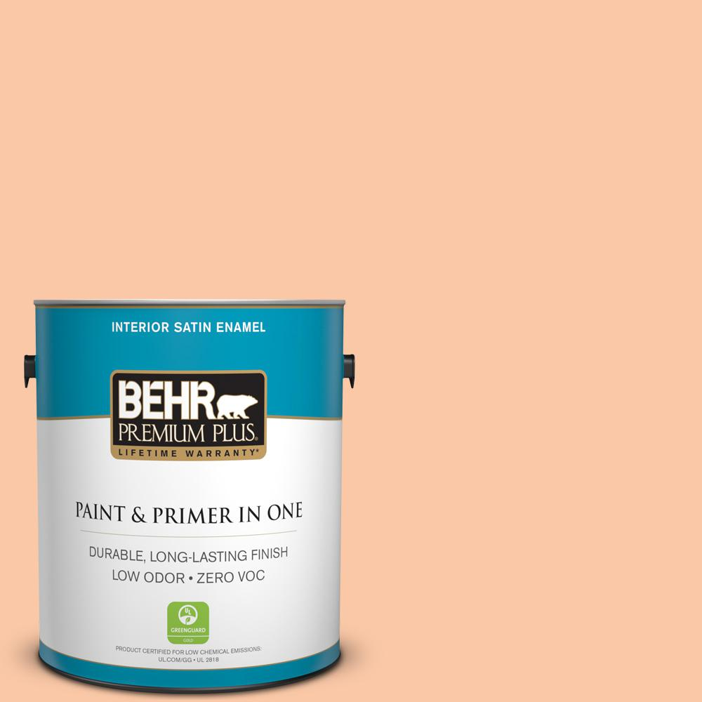1-gal. #250C-3 Fresco Cream Zero VOC Satin Enamel Interior Paint