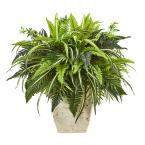 23 in. Mixed Greens and Fern Artificial Plant in White Planter
