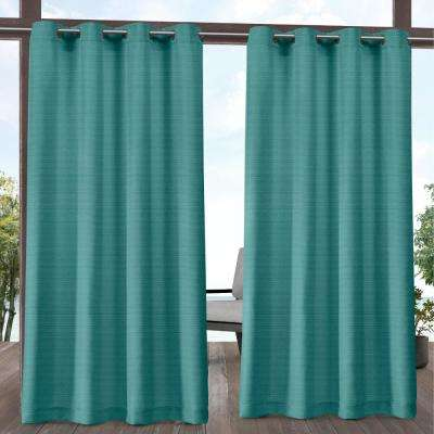 Aztec 54 in. W x 108 in. L Indoor Outdoor Grommet Top Curtain Panel in Teal (2 Panels)