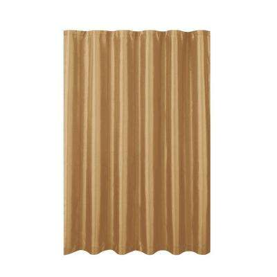Jane Faux Silk 70 in. W x 72 in. L Shower Curtain with Metal Roller Hooks in Gold