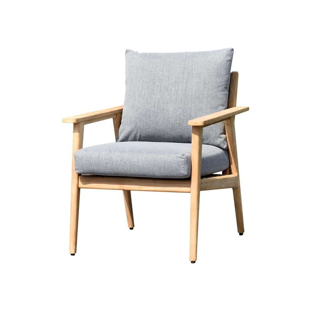 Duncan Teak Outdoor Sofa with Grey Cushions