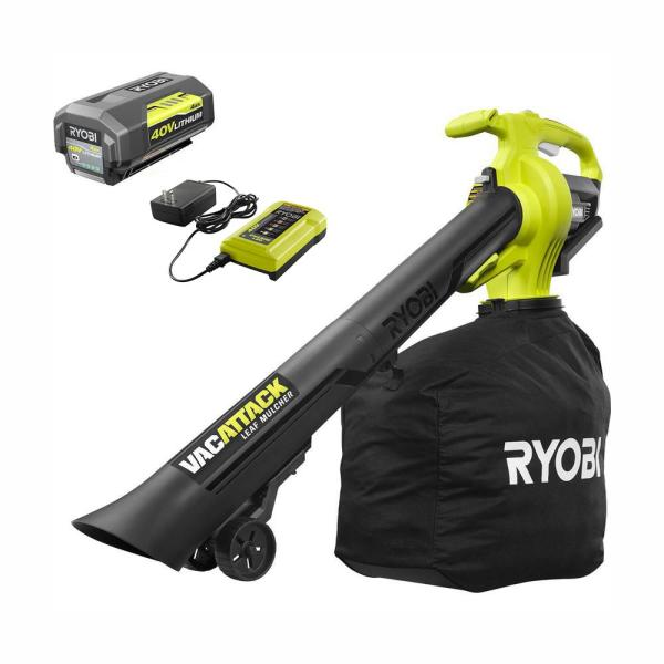 Ryobi 40 Volt Lithium Ion Cordless Leaf Vacuum Mulcher With 4 0 Ah Battery And Charger Included Ry40450 The Home Depot
