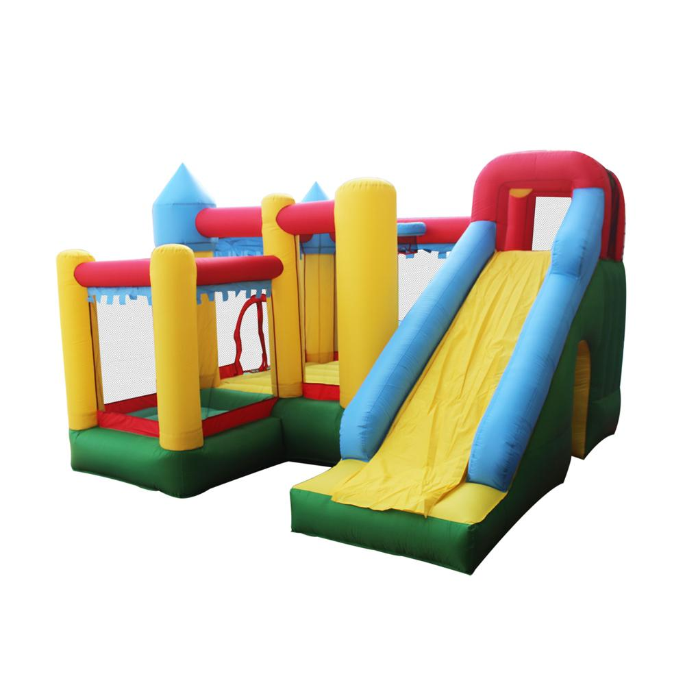 Aleko Castle Bounce House With Ul Blower Bhpool Hd The Home Depot