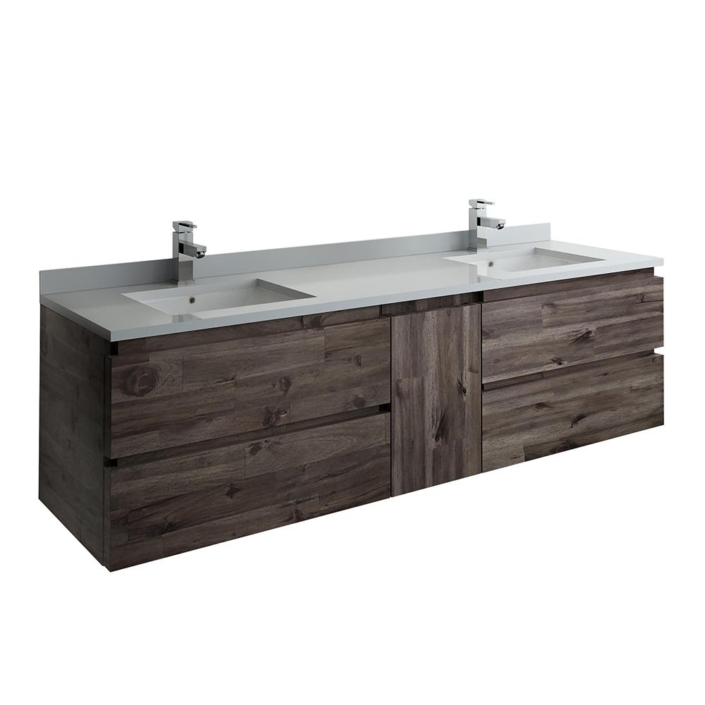 Fresca Formosa 72 in. Modern Double Wall Hung Vanity in Warm Gray with  Quartz Stone Vanity Top in White with White Basins