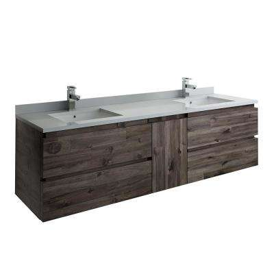 Formosa 72 in. Modern Double Wall Hung Vanity in Warm Gray with Quartz Stone Vanity Top in White with White Basins
