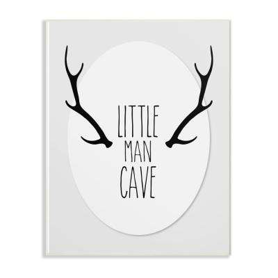 """10 in. x 15 in. """"Black and Grey Little Man Cave Antlers"""" by Karen Zukowski (Finny And Zook) Printed Wood Wall Art"""