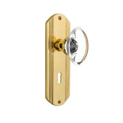 Deco Plate with Keyhole 2-3/8 in. Backset Polished Brass Passage Oval Clear Crystal Glass Door Knob