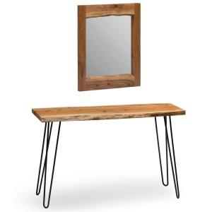 Hairpin Natural Live Edge Media Console and 24 in. Mirror Set