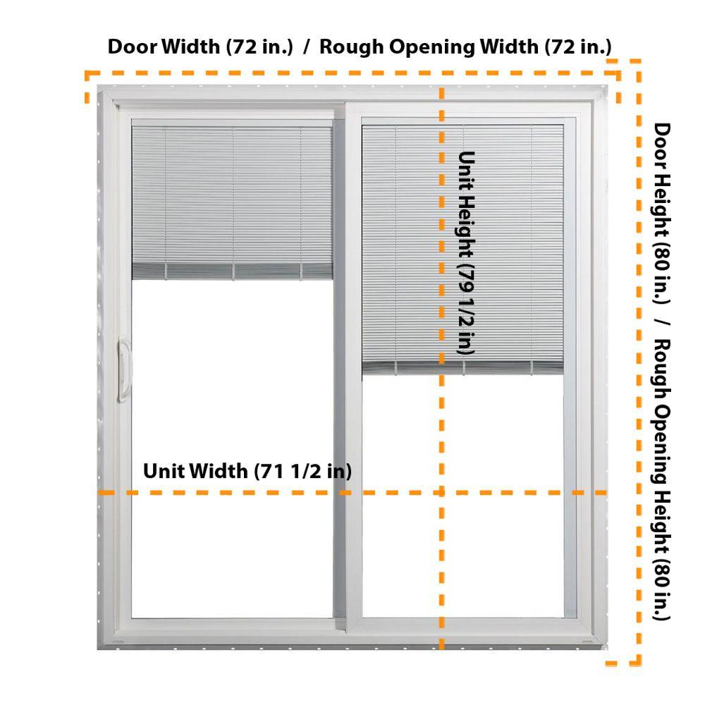 Jeld Wen 72 In X 80 In V 4500 White Vinyl Left Hand Full Lite Sliding Patio Door W Internal Blinds 8b6774 The Home Depot