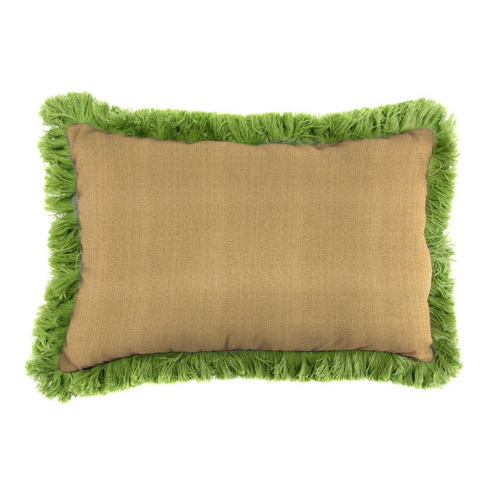 Sunbrella 9 in. x 22 in. Linen Straw Lumbar Outdoor Pillow