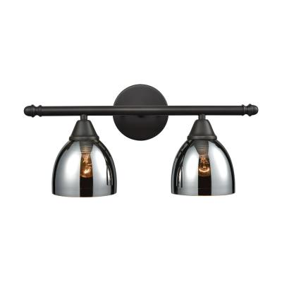 Reflections 2-Light Oil Rubbed Bronze with Chrome Plated Glass Bath Light