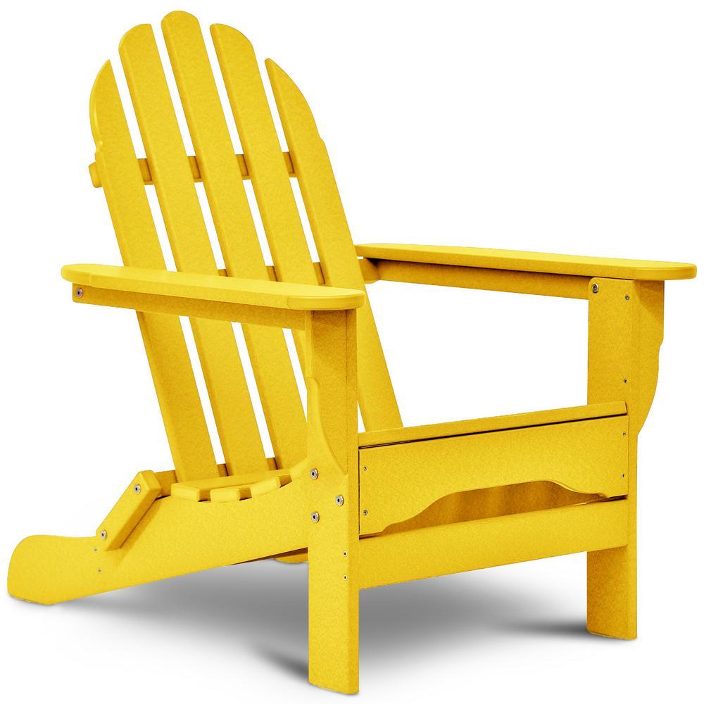 Icon Lemon Yellow Non-Folding Plastic Adirondack Chair