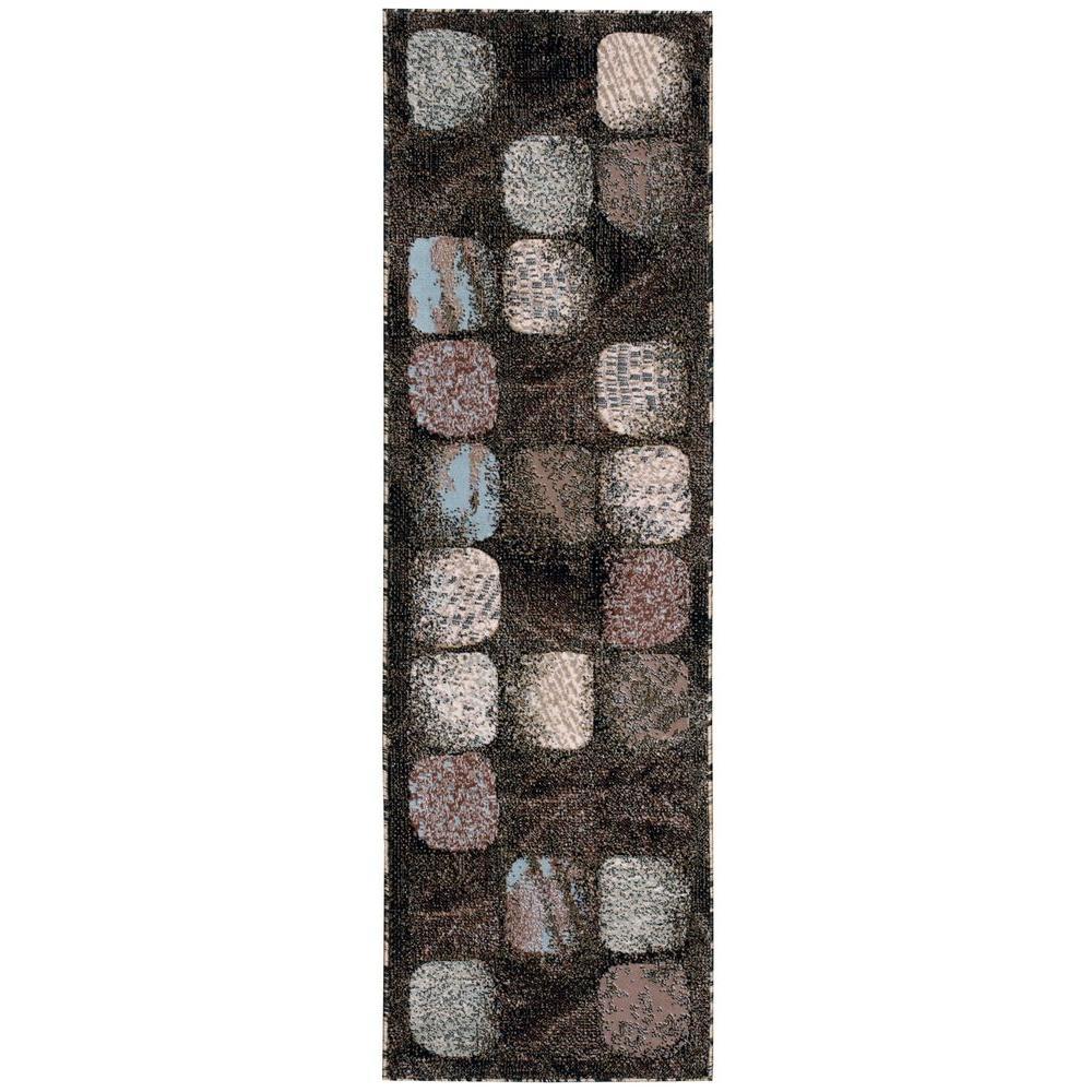 Nourison Overstock Modesto Cobblestone Charcoal 2 ft. 2 in. x 7 ft. 3 in. Rug Runner
