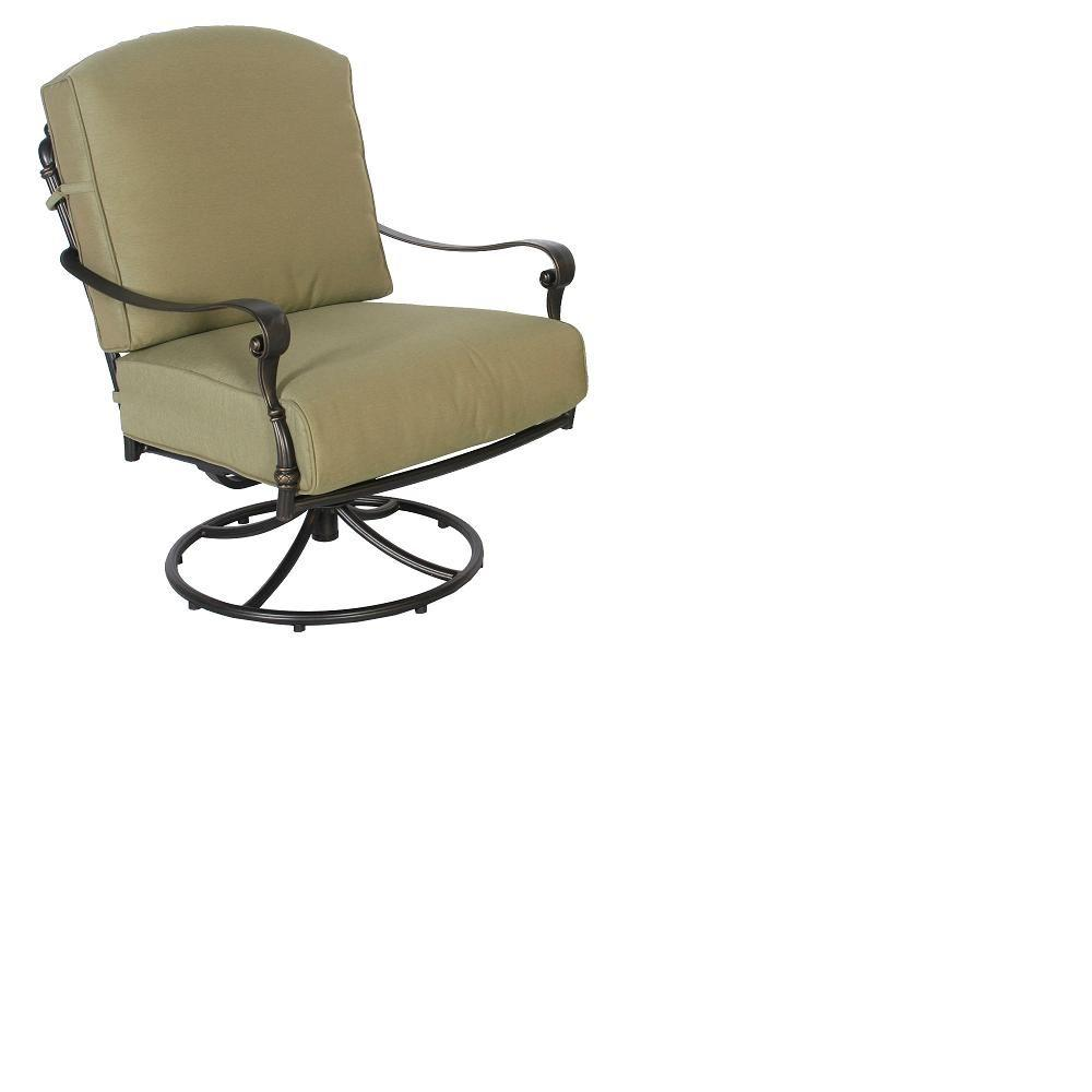 Hampton Bay Edington Swivel Rocker Patio Lounge Chair With Celery Cushion 141 034 Srl1 The Home Depot