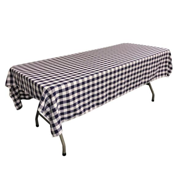 60 in. x 90 in. White and Navy Polyester Gingham Checkered Rectangular Tablecloth