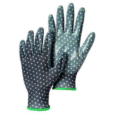 Garden Dip Size 7 Small Form-Fitting Nitrile Dipped Gloves in Black